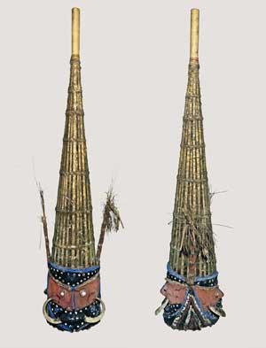 Nalawan ceremonial masks, Malakula Island, Vanuatu. Formerly the Théophile Savès. Found in the Wikimedia Commons.