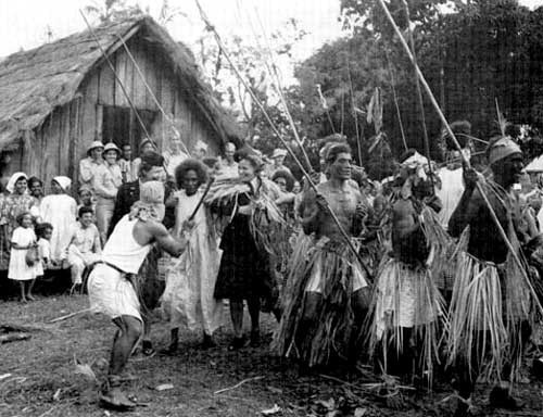 US Army nurses participating in a native dance at Saint-Lois Village, New Caledonia. Photo from the US Army Medical Department, Office of Medical History.